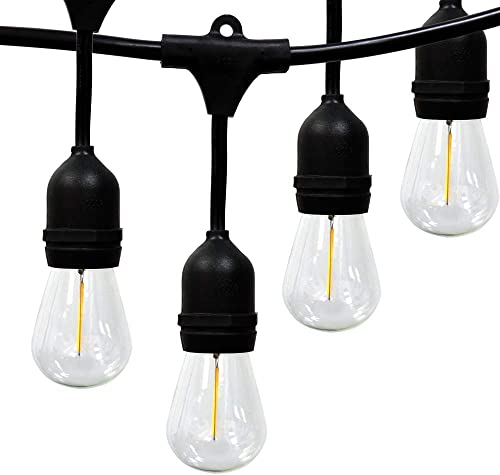 50ft G40 Globe String Lights UL Listed Cord and Sockets, Hanging Indoor Outdoor, 50 Bulbs – 5 Clear Replacement Bulbs Backyard Party Patio Bistro Pergola Porch Deck Gazebo Connectable – Black