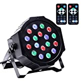 Stage Lighting DJ Par Lights with RGB 18 LEDsx3W Remote Control for Disco Wedding Party Bar Pub Lighting by U`King