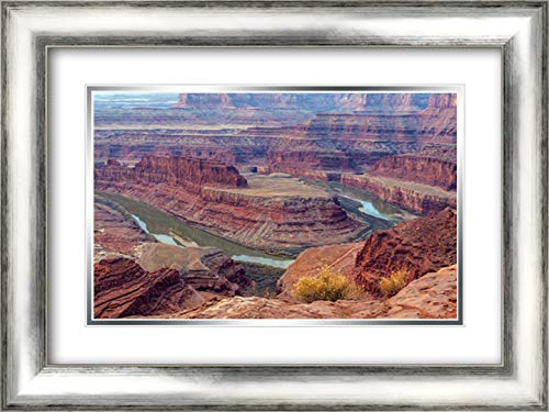 UT, Dead Horse Point SP Colorado River gooseneck 24x17 Silver Contemporary Wood Framed and Double Matted Art Print by Illg, Cathy - Gordon ()