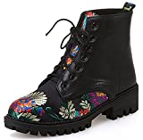 IDIFU Women's Stylish Embroidered Mid Chunky Heels Lace up Faux Suede Martin Boots Ankle Booties (Black, 8 B(M) US)