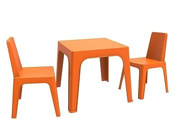 resol Julieta Set Infantil de 2 Sillas y 1 Mesa, Naranja, 60x51x78 cm