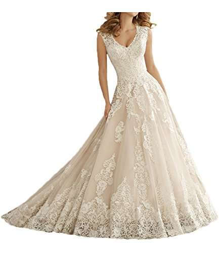 MILANO BRIDE Elegant Wedding Dress For Bride V-neck Ball Gown Applique Lace-12-Ivory