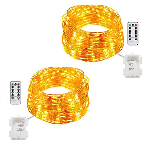 Needobi Fairy String Lights-2 Set, 33ft/100Leds Battery Operated Waterproof 8 Modes Twinkling LED String Lights Copper Wire Firefly Lights Remote Control for Festival Decoration Outdoor(Warm White) by Needobi