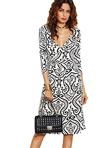 Vintage Print V-neck Tee (Floerns Women's Vintage Print Sexy Double Deep V Neck Tshirt Dress 3/4 Sleeve Elegant Skirt Black and White S)