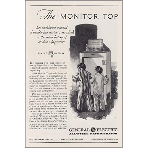 1930 General Electric Refrigerator: The Monitor Top, General Electric Print Ad 1930 General Electric Refrigerator