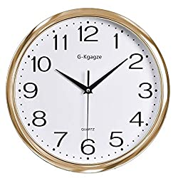G-Kgagze 12 Battery Operated Silent & Sweep Movement Gold Frame & White Dial Wall Clock-Easy to Read-Decoration for Home Office School (Rose Gold)