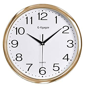 """G-Kgagze 12"""" Battery Operated Silent & Non-Ticking Wall Clock-Easy to Read (Rose Gold)"""