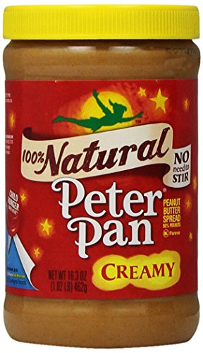 Peter Pan 100% Natural Creamy Peanut Butter Spread, 16.3 Ounce, (Pack of 12) by Peter Pan