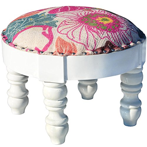 Herat Oriental Indo Handmade Cotton-upholstered Wooden Round Footstool (India) by Herat Oriental