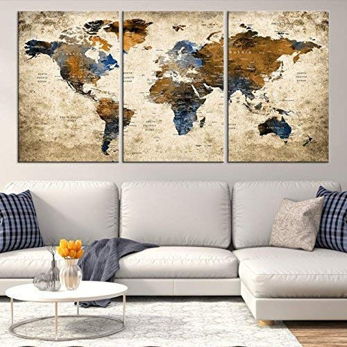 (Sephia World Map Wall Art by My Great Canvas | 3 Piece Multi Panel X-Large Hanging Canvas Print for Home Decor | Track Your Travels with This Colorful Antique Looking Map | Framed & Ready to Hang,)