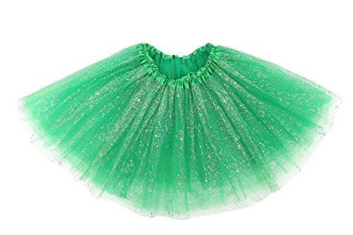 Simplicity Women's Classic Elastic 3 Layered Tulle Tutu Skirt, Dark Green Sequin]()