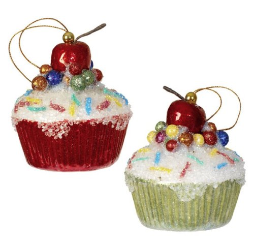 Christmas Cupcake Ornament Cherry Sparkles product image