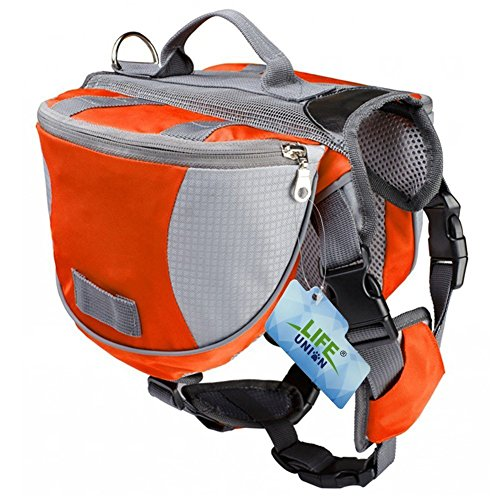 Lifeunion Saddle Bag Backpack for Dog, Tripper Hound Bag Travel Hiking Camping (Orange + Grey, L)