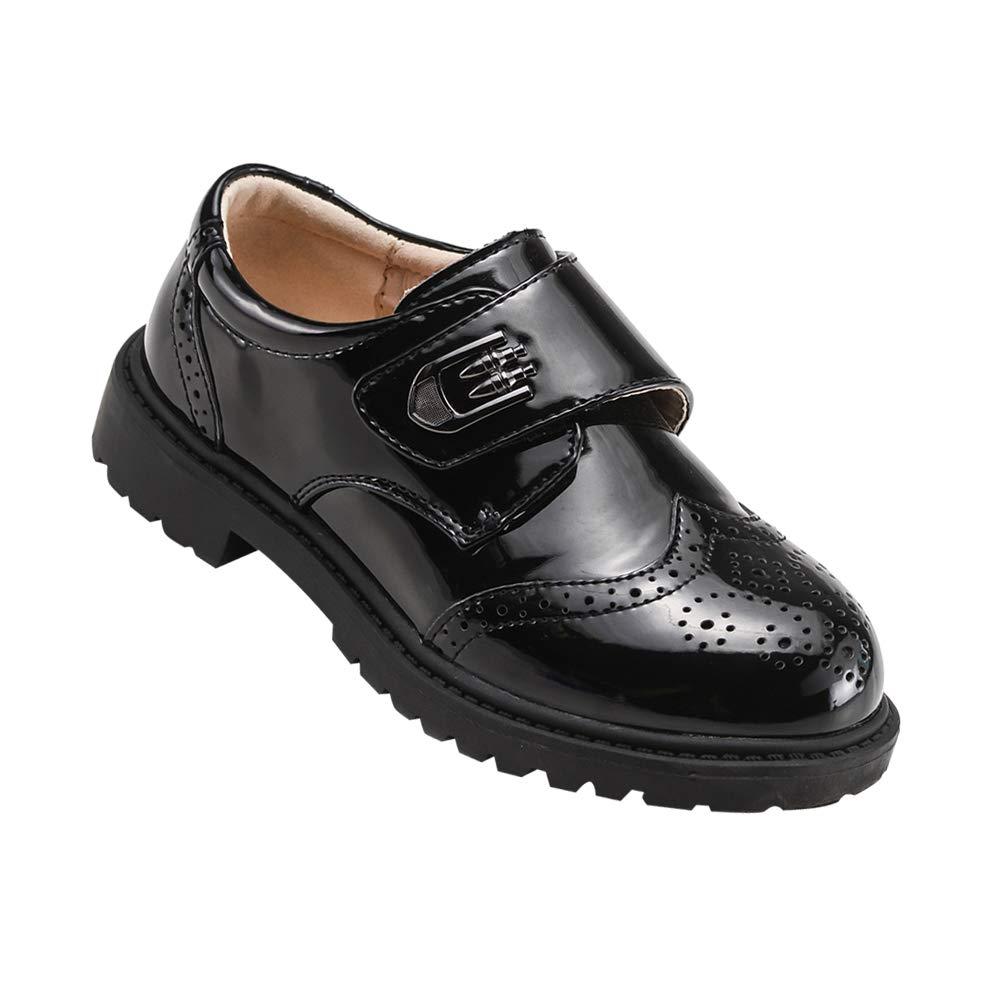 Yudesun Chaussures Garçon Mocassins - à Lacets Sangle Brogues Oxford Uniforme Scolaire en Cuir Verni Plat Noir Formel Style Britannique Enfants Kidshoes07yds