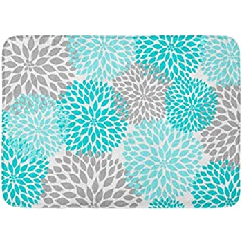 Amazon Com Coolest Secret Bath Mat Floral Turquoise Teal
