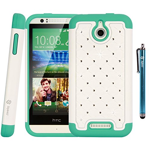 HTC Desire 510 Case, Style4U HTC Desire 510 Studded Rhinestone Crystal Bling Hybrid Armor Case Cover with 1 HD Screen Protector and 1 Stylus [White / Teal]