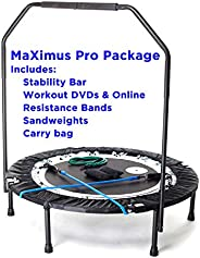 Maximus PRO Folding Rebounder | Voted #1 Indoor Exercise Mini Trampoline for Adults with Bar | Best Home Gym f
