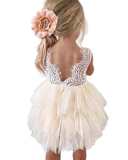 ecd575c991 Topmaker Backless A-line Lace Back Flower Girl Dress