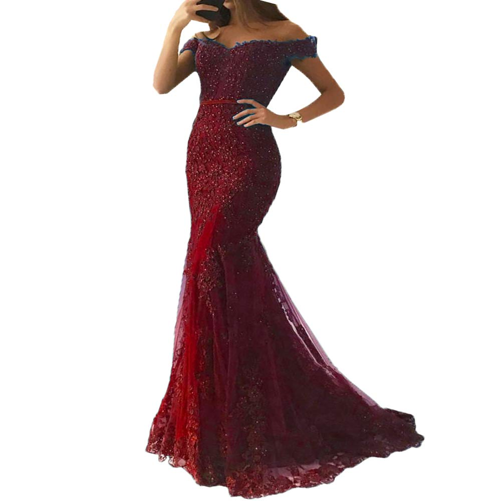 Burgundy Liaoye Women's Off Shoulder Lace Mermaid Prom Dresses Long Formal Beaded Evening Gown