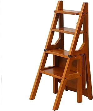 ZYC-WF Escaleras de tijera Escalera plegable de 4 niveles Escalera de madera Taburete de silla Silla de banco Utilidad Hogar Cocina Escalera Taburete/A: Amazon.es: Bricolaje y herramientas