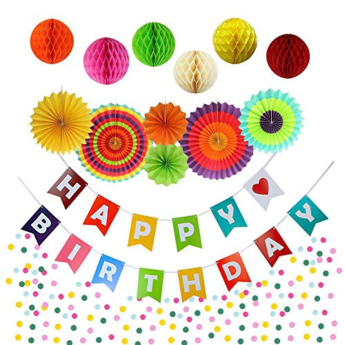Happy Birthday Banner Fiesta Fans Paper Honeycomb Rainbow Confetti for Colorful Birthday Party Decorations Kit All Ages -