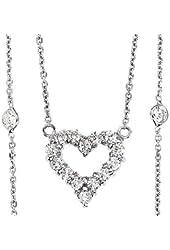 Beautiful 0.95ctw 14k White Gold Round Shape Diamond Pendant with Chain