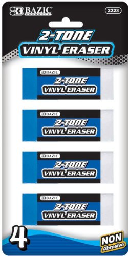 Bazic Two-Tone Vinyl Eraser - 4/Pack [72 Pieces] - Product Description - Bazic Two-Tone Vinyl Eraser (4/Pack). Soft Vinyl Eraser Is Non-Abrasive, Resists Paper Tearing Can Be Used On Most Surfaces Thoroughly Removes Pencil Marks Without Smudges ...