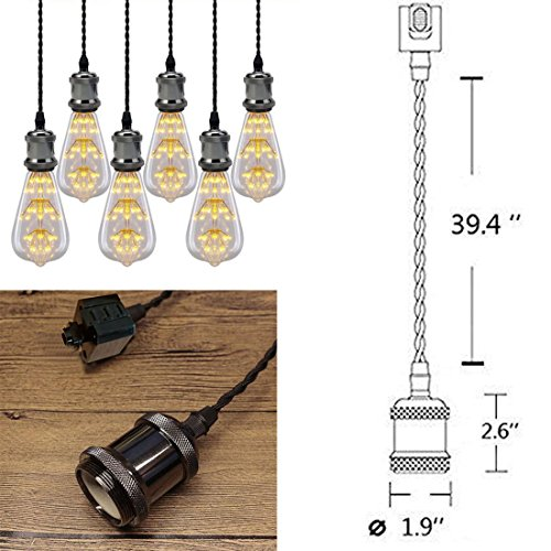 3-Light H-Type Wire Track Light Pendants 39.37 Inch Cord Length Black Weave Rope Restaurant Chandelier Decorative Pendant Light Industrial Factory Pendant Lamp 3 Pack,Bulb Not Included by Kiven (Image #3)