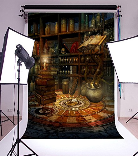 Laeacco 5x7FT Vinyl Backdrop Photography Fantasy Room Magic Book Potions Candles Enchanted House Skulls Wizard Scene Children Adults Portraits Backdrop Photo Studio Prop Halloween Horror Night ()