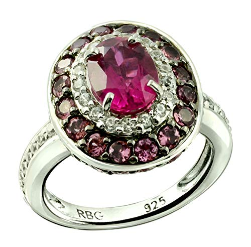- RB Gems Sterling Silver 925 Ring GENUINE GEMS Oval 8x6 mm, Rhodium-Plated Finish, Classic Style (rubellite-tourmaline, 8)