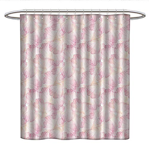 Anshesix PastelUnique Shower curtainSoft Pink Flower Petals Watercolor Painting Style Rose Blossom Romantic Gentlecute Shower curtainLight Pink White