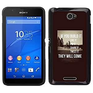 Build It Inspiring Sepia mensaje inteligente- Metal de aluminio y de plástico duro Caja del teléfono - Negro - Sony Xperia E4