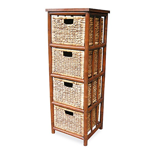 Heather Ann Creations Isla Collection Bohemian Bamboo Open Frame Cabinet with 4 Drawers, 43