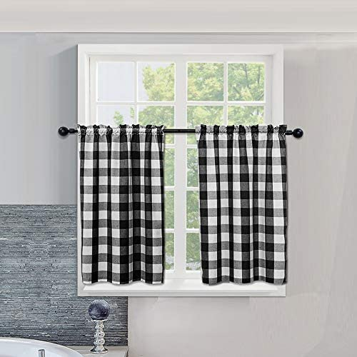Farmhouse Kitchen Window Tiers, Buffalo Check Small Short Bathroom Curtain, Cotton Blended Plaid Gingham Kitchen Cafe Curtains 54 x 36 inches Black White