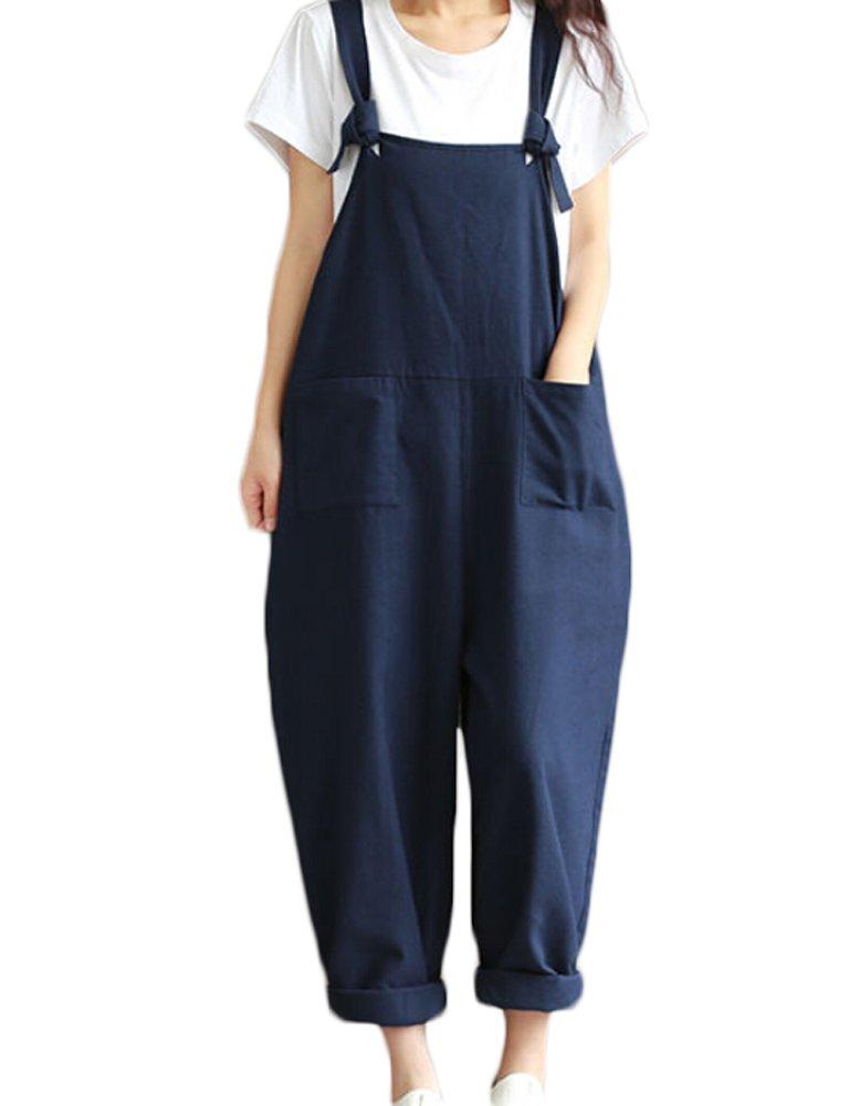 Faithtur Baggy Linen Overalls Casual Wide Leg Sleeveless Rompers Jumpsuit Vintage Haren Pants (Label L/US 8-10, Blue)