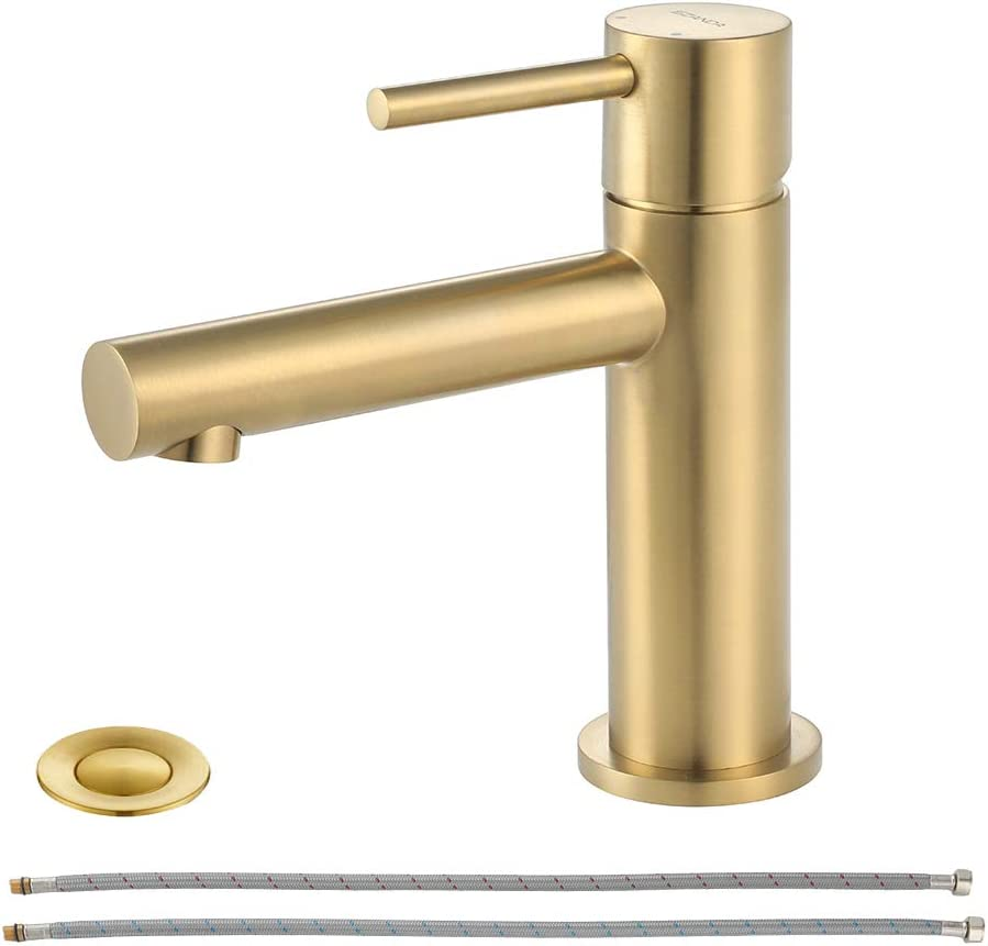EZANDA Brass Bathroom Faucet with Drain Assembly, Bathroom Sink Faucet with Faucet Supply Lines & Water Supply Hoses Included, Brushed Gold, 1432008