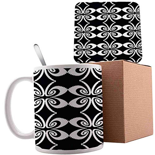 Psychedelic Torsion with Mirrored Pairs Op Art Symmetric, Black and White;Ceramic mug with Spoon & Coaster Creative Morning Milk Coffee Tea Porcelain 11oz gifts for family