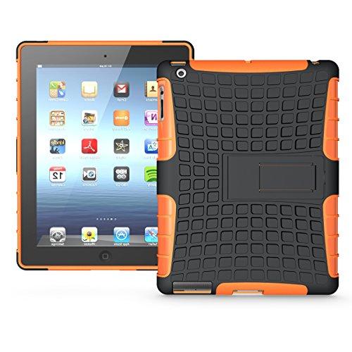 iPad 2/ 3/ 4 Funda,COOLKE Duro resistente Choque Heavy Duty Case Hybrid Outdoor Cover case Bumper protección Funda Para Apple iPad 2/ 3/ 4 - Azul naranja