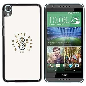 Wild Side Marca Iniciales minimalista- Metal de aluminio y de plástico duro Caja del teléfono - Negro - HTC Desire 820