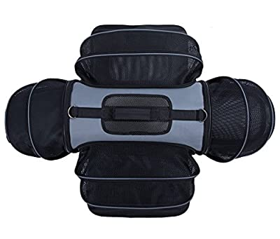Smiling Paws Pets 4 Way Expandable Soft Sided Airline Approved Pet Carrier for Cats and Dogs, Black/Grey | Folding for Easy Transport | for Air or Car Travel, Meets Most Under Seat Requirements