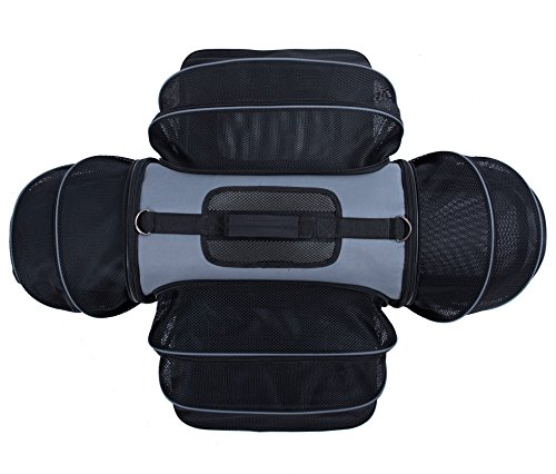 4 Way Expandable Soft Sided Airline Approved Pet Carrier for Cats and Dogs, Black / Grey | Folding for Easy Transport | For Air or Car Travel, Meets Most Under Seat Requirements by Smiling Paws Pets