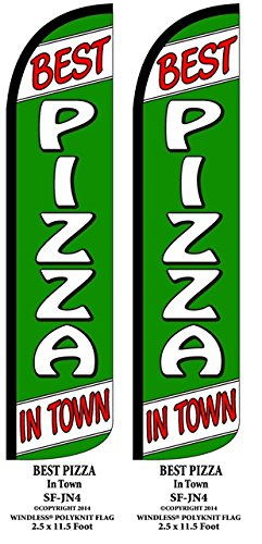 Best Pizza In Town Two(2) Windless Swooper Feather Flag Sign Kits With Pole and Ground Spikes by Accent Printing & Signs