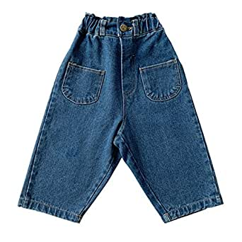 Xifamniy Infant Boys Trousers Elastic Waist Solid Color Loose Fit Straight Jeans Blue