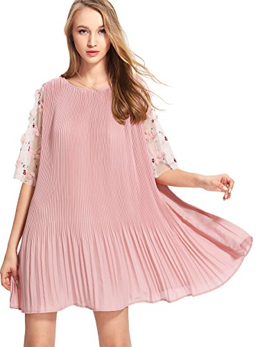 Verdusa Women's Flower Embroidered Mesh Sleeve Shift Tunic Dress Pink One Size