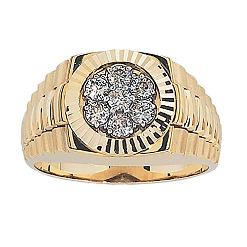 Diamond Mens Ring Cluster (Men's 14k Yellow Gold with High Polished Finish Diamond Cluster Wedding Band (1/2 cttw, H-I Color, I1-I2 Clarity), Size 13)