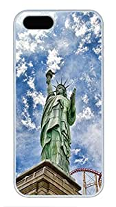 iPhone 5 Case, iPhone 5S Cases - Anti-Scratch Hard Case Cover for iPhone 5/5s Statue Of Liberty Stylish Design White Hard Back Case Bumper for iPhone 5/5S