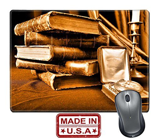 """Liili Natural Rubber Mouse Pad/Mat with Stitched Edges 9.8"""" x 7.9"""" Style art background Vintage books and candles Photo 2819047"""