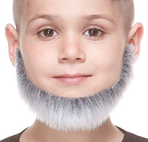 Mustaches Fake Beard, Self Adhesive, Novelty, Small Morman False Facial Hair, Costume Accessory for Kids, Gray with White Color]()