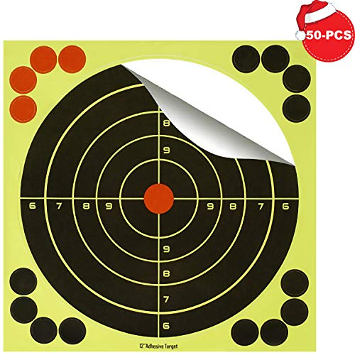 (BOSICAN 50PCS -12 Inch Shooting Targets Adhesive Paper, Reactive Bright Yellow Splatter Bullseye Target Stickers 16 Cover up Patches for Rifle, Pistol, BB Gun, Airsoft, Pellet Gun, Shotgun, Air Rifle)
