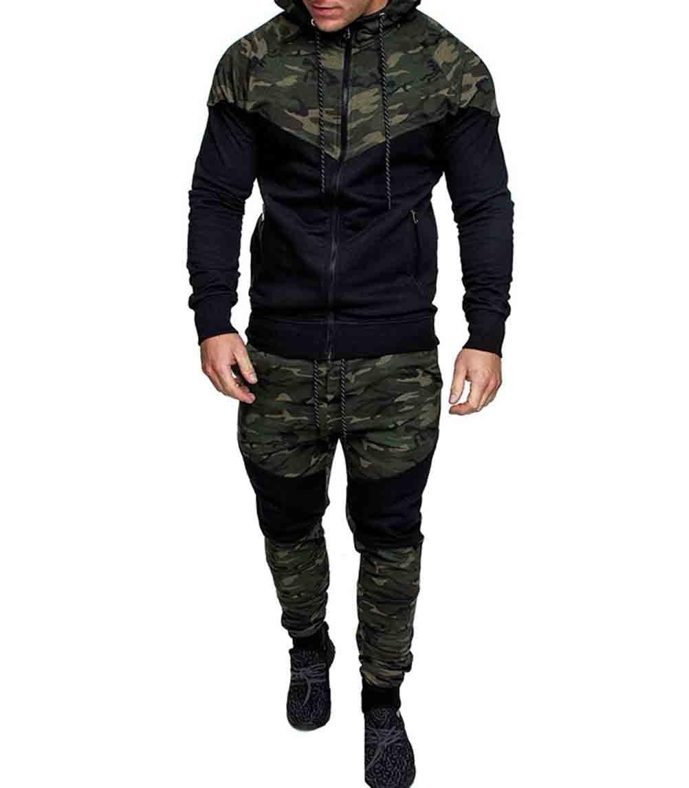 Men's Tracksuit Set Camouflage Sweatshirt Jogger Sweatpants Solid Patchwork Warm Sports Suit (Green, XXL) by lisenraIn